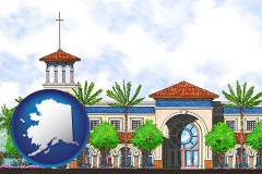 ak map icon and an architectural rendering of a Christian high school building