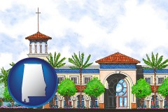 al map icon and an architectural rendering of a Christian high school building