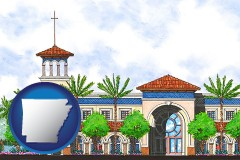 ar map icon and an architectural rendering of a Christian high school building