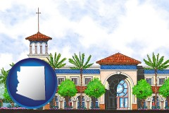 az map icon and an architectural rendering of a Christian high school building