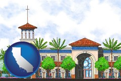 ca map icon and an architectural rendering of a Christian high school building