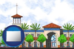 co map icon and an architectural rendering of a Christian high school building