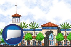 ct map icon and an architectural rendering of a Christian high school building