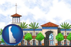 de an architectural rendering of a Christian high school building