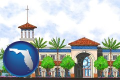 fl map icon and an architectural rendering of a Christian high school building