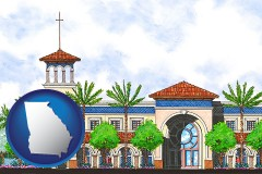 ga map icon and an architectural rendering of a Christian high school building