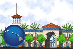 hi map icon and an architectural rendering of a Christian high school building