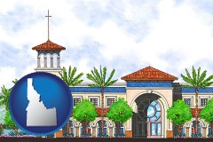 id map icon and an architectural rendering of a Christian high school building