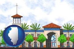 il map icon and an architectural rendering of a Christian high school building