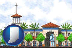 in map icon and an architectural rendering of a Christian high school building