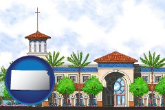 ks map icon and an architectural rendering of a Christian high school building