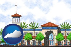 ky map icon and an architectural rendering of a Christian high school building