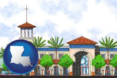 la map icon and an architectural rendering of a Christian high school building