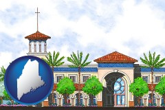 me map icon and an architectural rendering of a Christian high school building