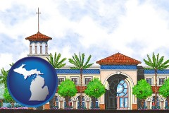 mi map icon and an architectural rendering of a Christian high school building