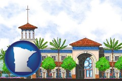 mn map icon and an architectural rendering of a Christian high school building