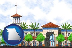 mo map icon and an architectural rendering of a Christian high school building