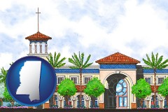 ms map icon and an architectural rendering of a Christian high school building
