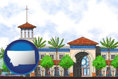 mt map icon and an architectural rendering of a Christian high school building