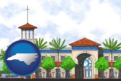 nc map icon and an architectural rendering of a Christian high school building