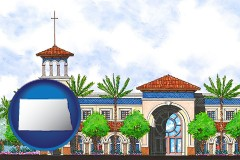 nd map icon and an architectural rendering of a Christian high school building