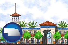 ne map icon and an architectural rendering of a Christian high school building