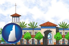nh map icon and an architectural rendering of a Christian high school building