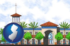 nj map icon and an architectural rendering of a Christian high school building