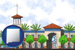 nm map icon and an architectural rendering of a Christian high school building
