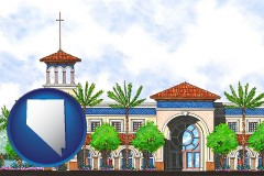 nv map icon and an architectural rendering of a Christian high school building
