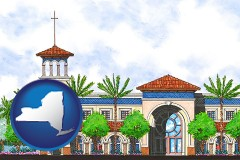 ny map icon and an architectural rendering of a Christian high school building