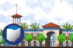oh map icon and an architectural rendering of a Christian high school building