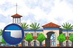 ok an architectural rendering of a Christian high school building
