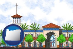 or map icon and an architectural rendering of a Christian high school building