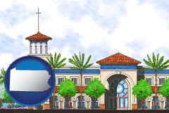 pa map icon and an architectural rendering of a Christian high school building