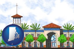 ri map icon and an architectural rendering of a Christian high school building