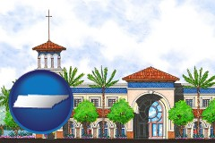 tn map icon and an architectural rendering of a Christian high school building