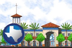 tx map icon and an architectural rendering of a Christian high school building