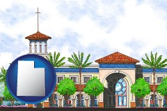 ut map icon and an architectural rendering of a Christian high school building