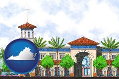 va map icon and an architectural rendering of a Christian high school building