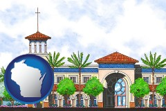 wi map icon and an architectural rendering of a Christian high school building