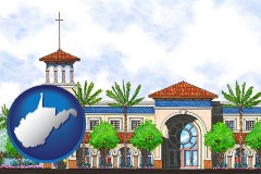 wv map icon and an architectural rendering of a Christian high school building
