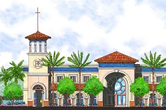 an architectural rendering of a Christian high school building