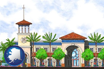 an architectural rendering of a Christian high school building - with Alaska icon