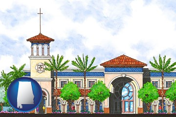an architectural rendering of a Christian high school building - with Alabama icon