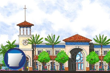 an architectural rendering of a Christian high school building - with Arkansas icon