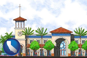 an architectural rendering of a Christian high school building - with California icon