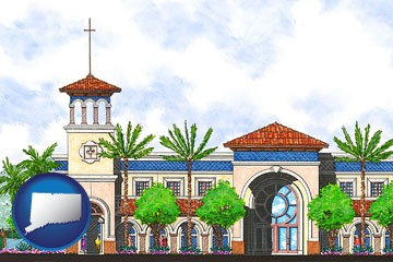 an architectural rendering of a Christian high school building - with Connecticut icon