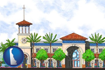 an architectural rendering of a Christian high school building - with Delaware icon