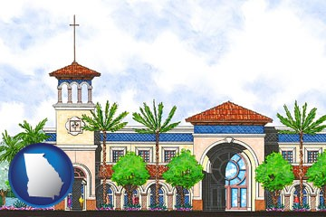 an architectural rendering of a Christian high school building - with Georgia icon